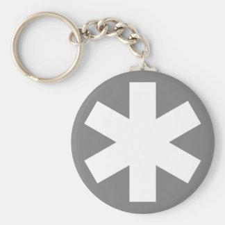 Asterisk - Gray Basic Round Button Key Ring