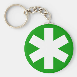 Asterisk - Green Basic Round Button Key Ring