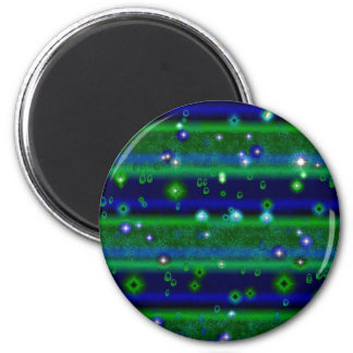 Asterisk green blue touched with rain drops and 6 cm round magnet