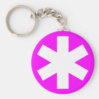 Asterisk - Magenta Basic Round Button Key Ring