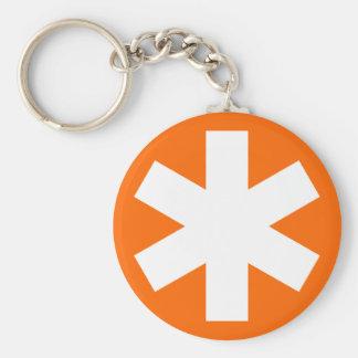 Asterisk - Orange Basic Round Button Key Ring