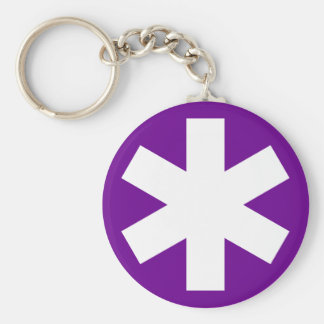 Asterisk - Purple Basic Round Button Key Ring