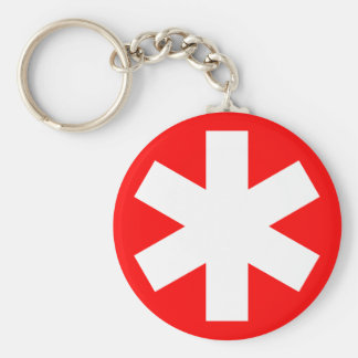 Asterisk - Red Basic Round Button Key Ring