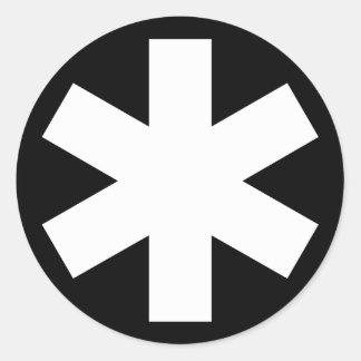 Asterisk - White on Black Round Sticker