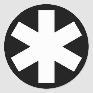 Asterisk - White on Black Stickers