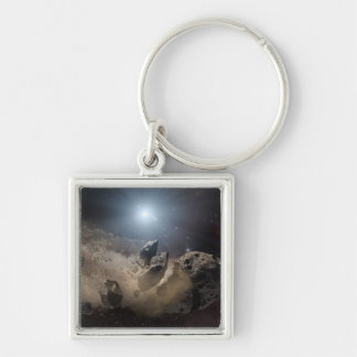 Asteroid bites the dust in space Silver-Colored square key ring