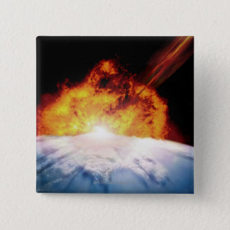 Asteroid Colliding with Earth 15 Cm Square Badge