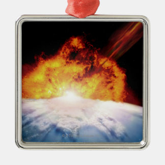 Asteroid Colliding with Earth Christmas Ornament