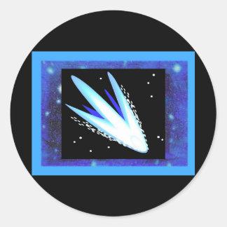 Asteroid With Layered Midnight Blue Stars Round Sticker