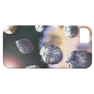 Asteroids and red star by Saturn (digital iPhone 5 Cover