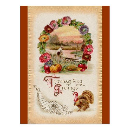 Asters, Cornucopia & Turkey Thanksgiving Postcard