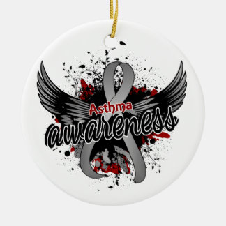 Asthma Awareness 16 Double-Sided Ceramic Round Christmas Ornament