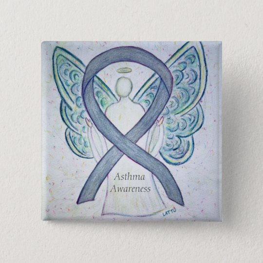 Asthma Awareness Ribbon Angel Customised Art Pin