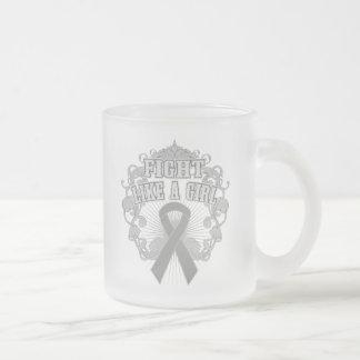 Asthma Fight Like A Girl Fleurish Frosted Glass Mug