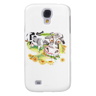 Astonished cartoon cow grazing on flowers galaxy s4 case