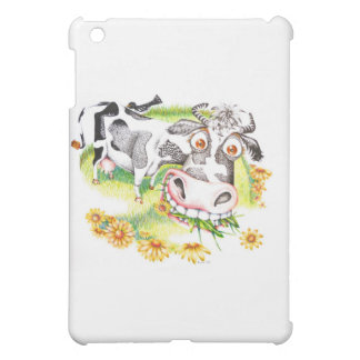 Astonished cartoon cow grazing on flowers iPad mini cases