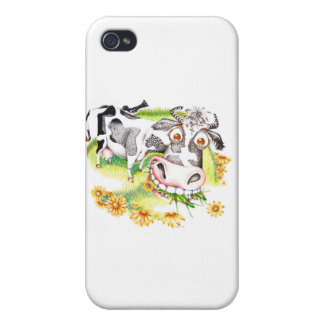 Astonished cartoon cow grazing on flowers iPhone 4/4S cover
