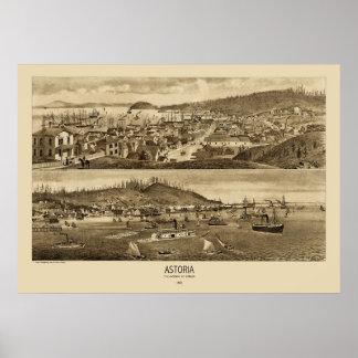 Astoria Oregon Panoramic Map 1883  Poster