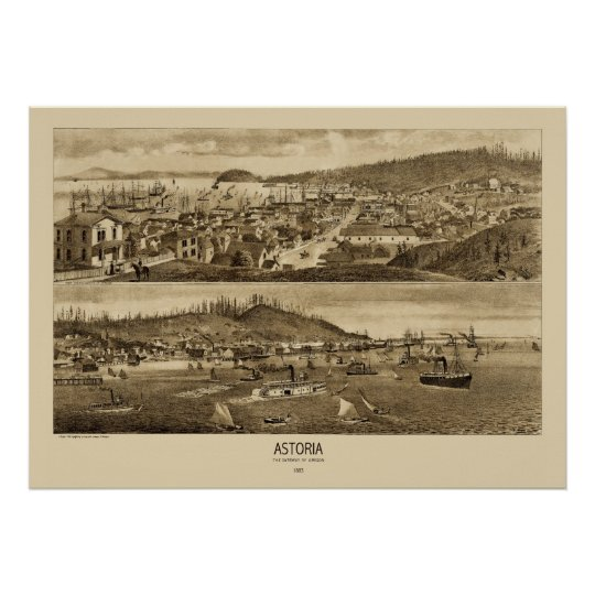 Astoria Oregon Panoramic Map 1883  Poster
