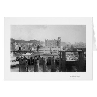 Astoria, Oregon Scene with Ferry Slip Greeting Card