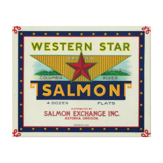 Astoria, Oregon - Western Star Salmon Case Label Canvas Print