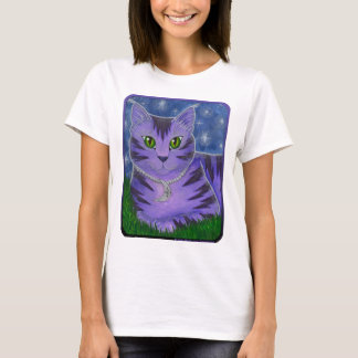 Astra Celestial Moon Stars Cat Fantasy Art T Shirt
