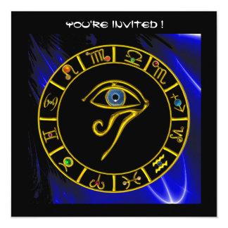ASTRAL EYE / BLUE TALISMAN Astrology Chart 13 Cm X 13 Cm Square Invitation Card