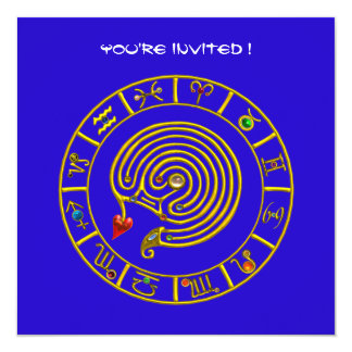 ASTRAL LABYRINTH , black and white ,blue red Card