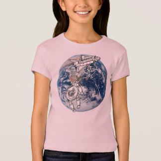 Astro cat, cat in space tee shirts