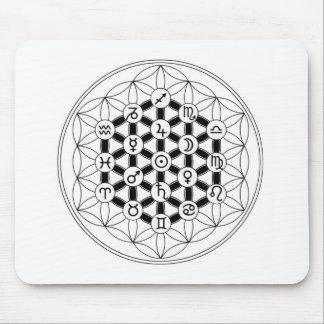 Astro~Flora: Fleur de Vie & Astrology Mouse Pad