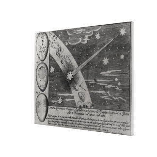 Astrological diagram of the comet stretched canvas print