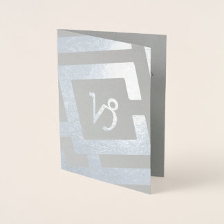 Astrological Sign Capricorn Silver Custom Text Foil Card