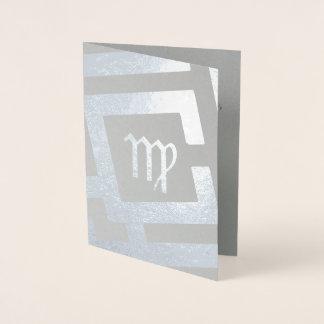 Astrological Sign Virgo Silver Decor Custom Text Foil Card