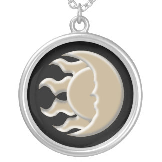 Astrological Sun and Moon Round Pendant Necklace