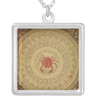 Astrological table of Cancer Silver Plated Necklace