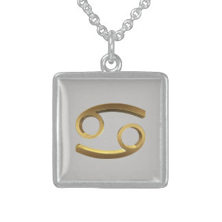 Astrological Zodiac Sign Cancer Gold Look Sterling Silver Necklace