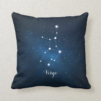 Astrology Blue Nebula Virgo Zodiac Sign Throw Cushion