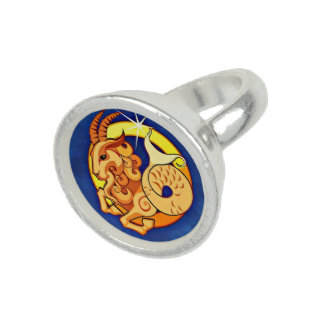 Astrology Capricorn Ring, Sun Sign Blue Brown