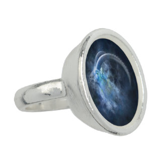 Astrology Capricorn Ring, Sun Sign Grey Blue
