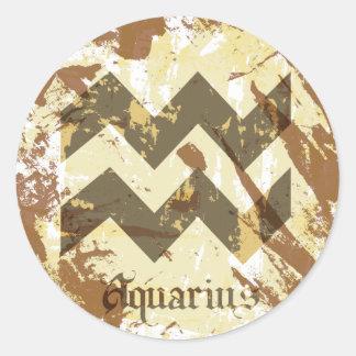 Astrology Grunge Aquarius Round Stickers