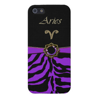 Astrology Purple Tiger Gold Aries Sign Case iPhone 5 Case