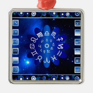 Astrology Silver-Colored Square Decoration