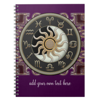 Astrology Sun and Moon Design Personalized Spiral Notebook