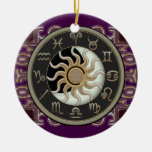 Astrology Sun and Moon Personalised Round Ceramic Decoration