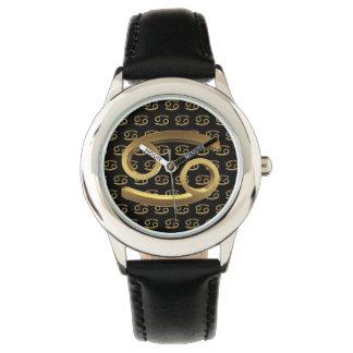 Astrology Zodiac Sign Cancer Black Gold Elegant Watch