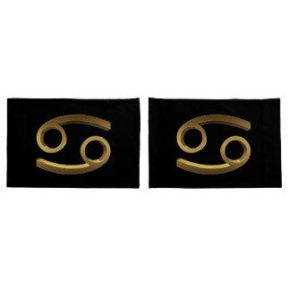 Astrology Zodiac Sign Cancer Black Gold Symbol Pillowcase