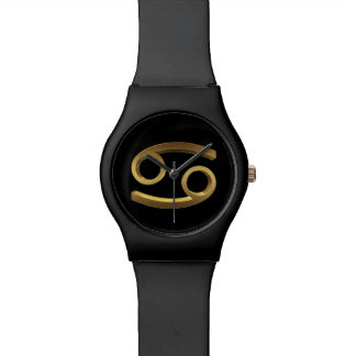 Astrology Zodiac Sign Cancer  Symbol Black Gold Watch