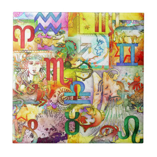 Astrology Zodiac Symbols and Signs Tile