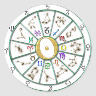 Astrology Zodiac Wheel sticker+gift Classic Round Sticker