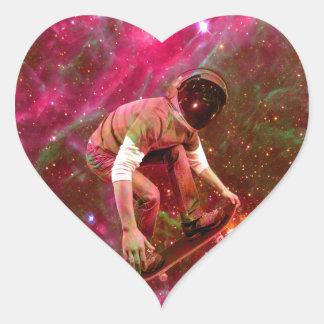 Astronaugt Skateborder Heart Sticker